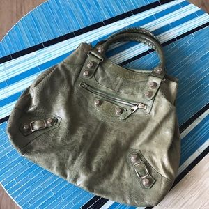 Balenciaga large green handle bag
